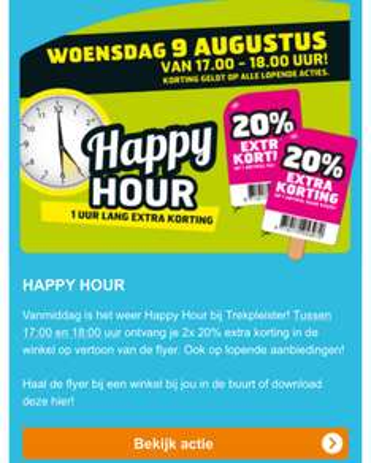 Happy hour @Trekpleister. 17.00/18.00 20% korting