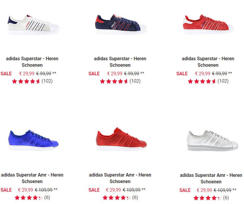adidas Superstar sneakers - 6 soorten - €29,99 p.p. @ Foot Locker