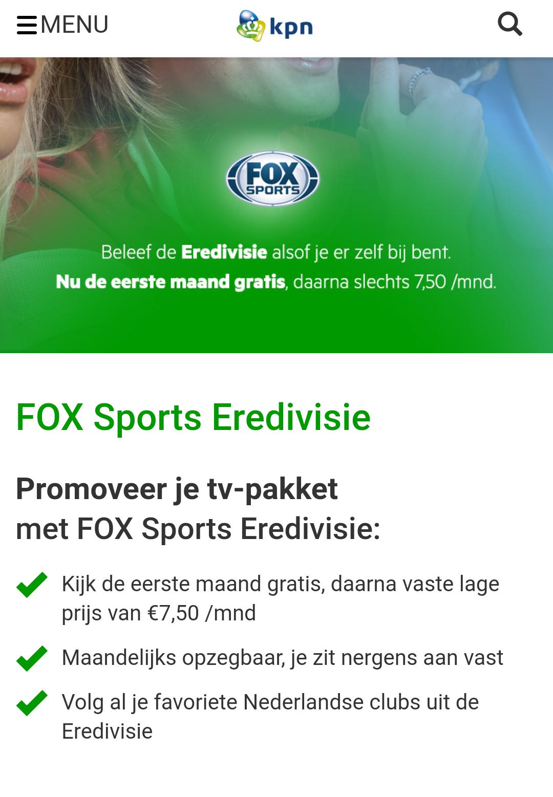 Voor KPN klanten, 1 maand GRATIS foxsports