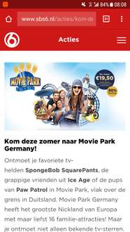 Voor €19,50 naar Movie Park Germany @ SBS6