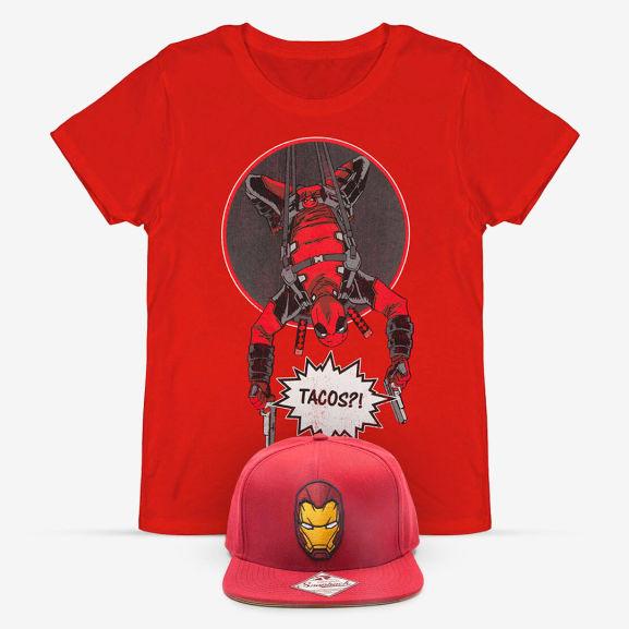 Deadpool shirt + Iron Man cap voor €11,98 @ IWOOT