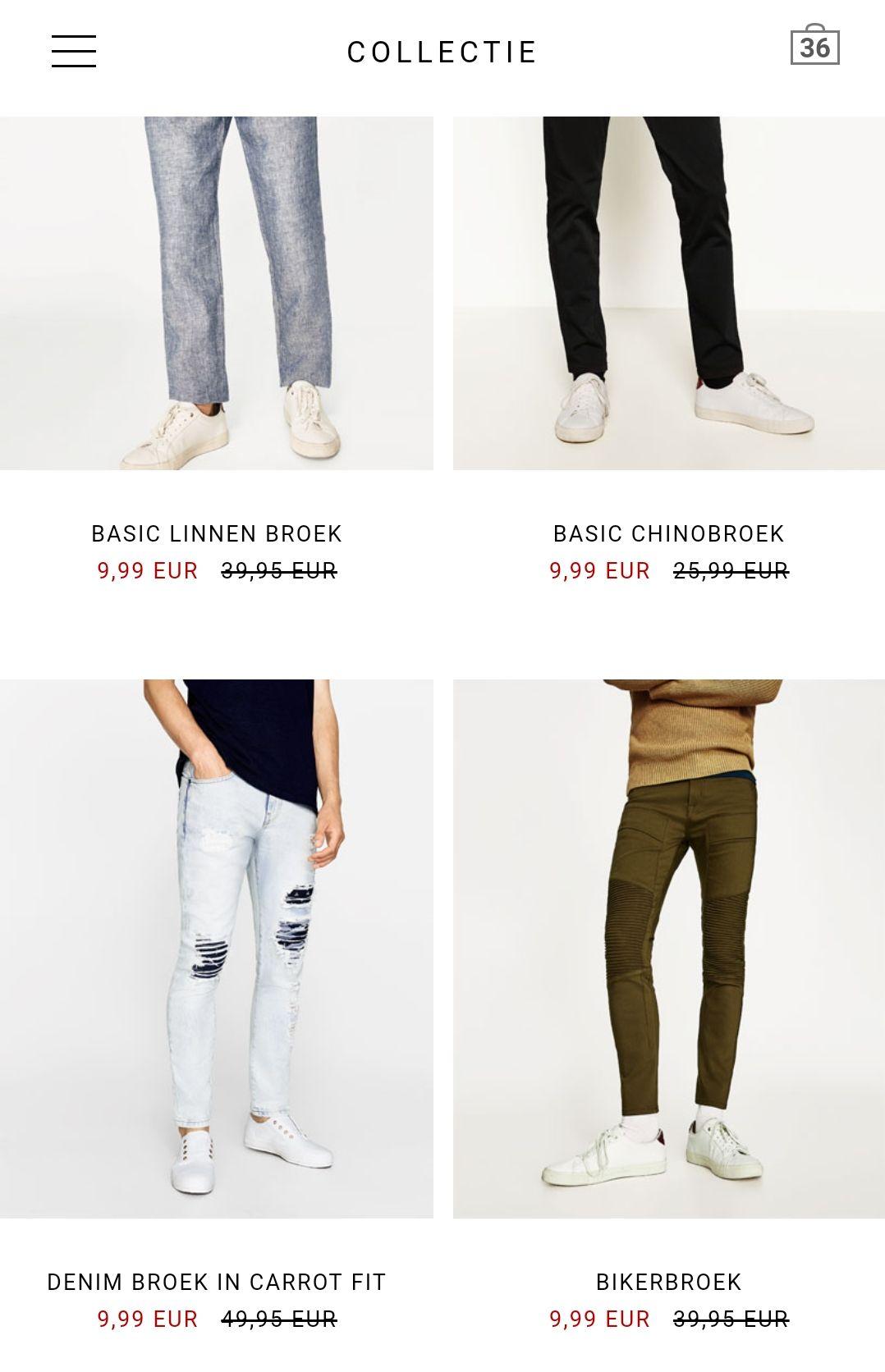 Zara heren alle broeken in de sale voor €9,99