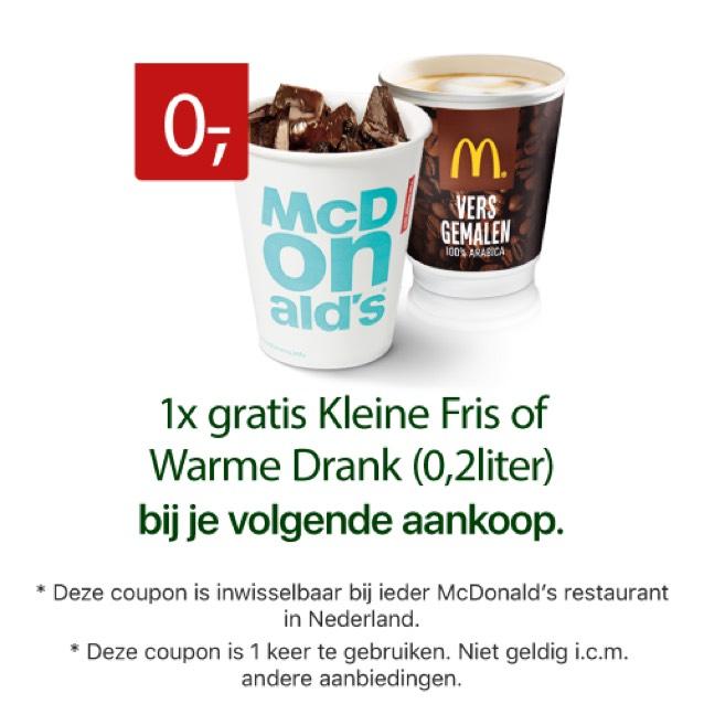 Gratis Drankje (Koffie Of Fris) @ McDonald's