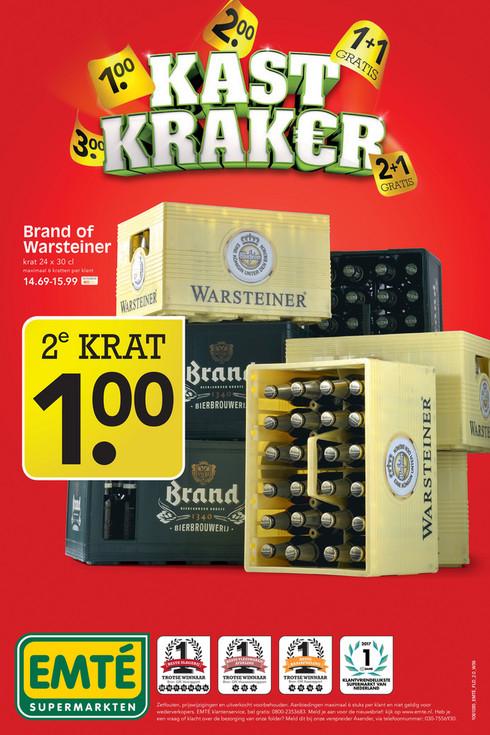2e Krat Warsteiner of Brand bier voor maar 1 euro bij EMTE