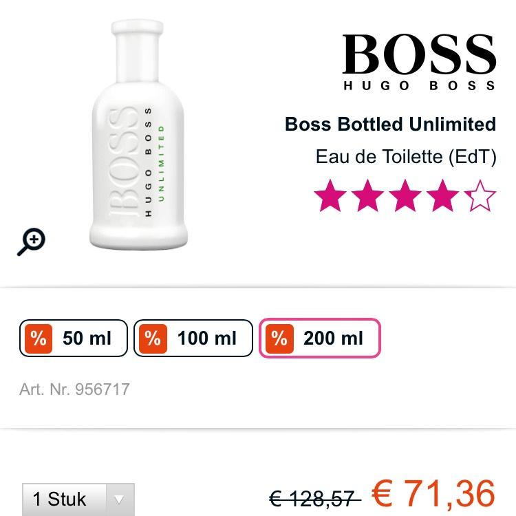 HUGO BOSS BOSS BOTTLED UNLIMITED 200 ml voor €71,36