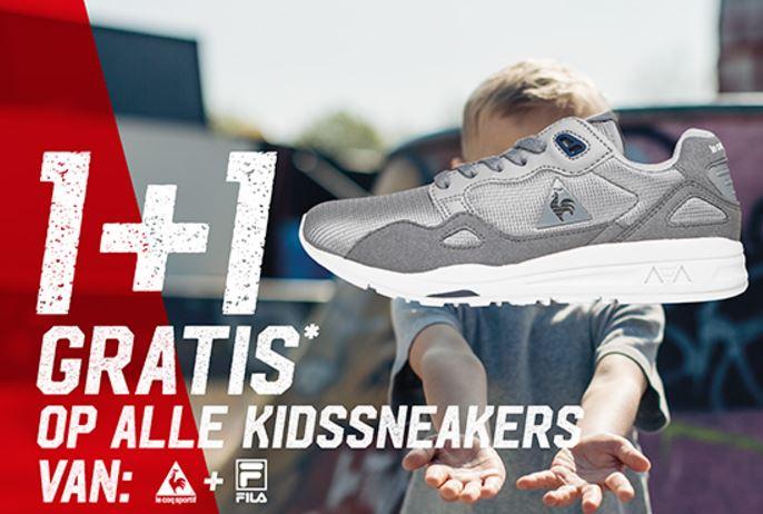 Fila + Le coq Sportif kids sneakers sale 1+1 gratis + 15% extra korting @ Aktiesport