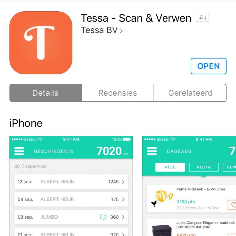 Gratis bioscoopkaartje @ tessa app (Apple Store)
