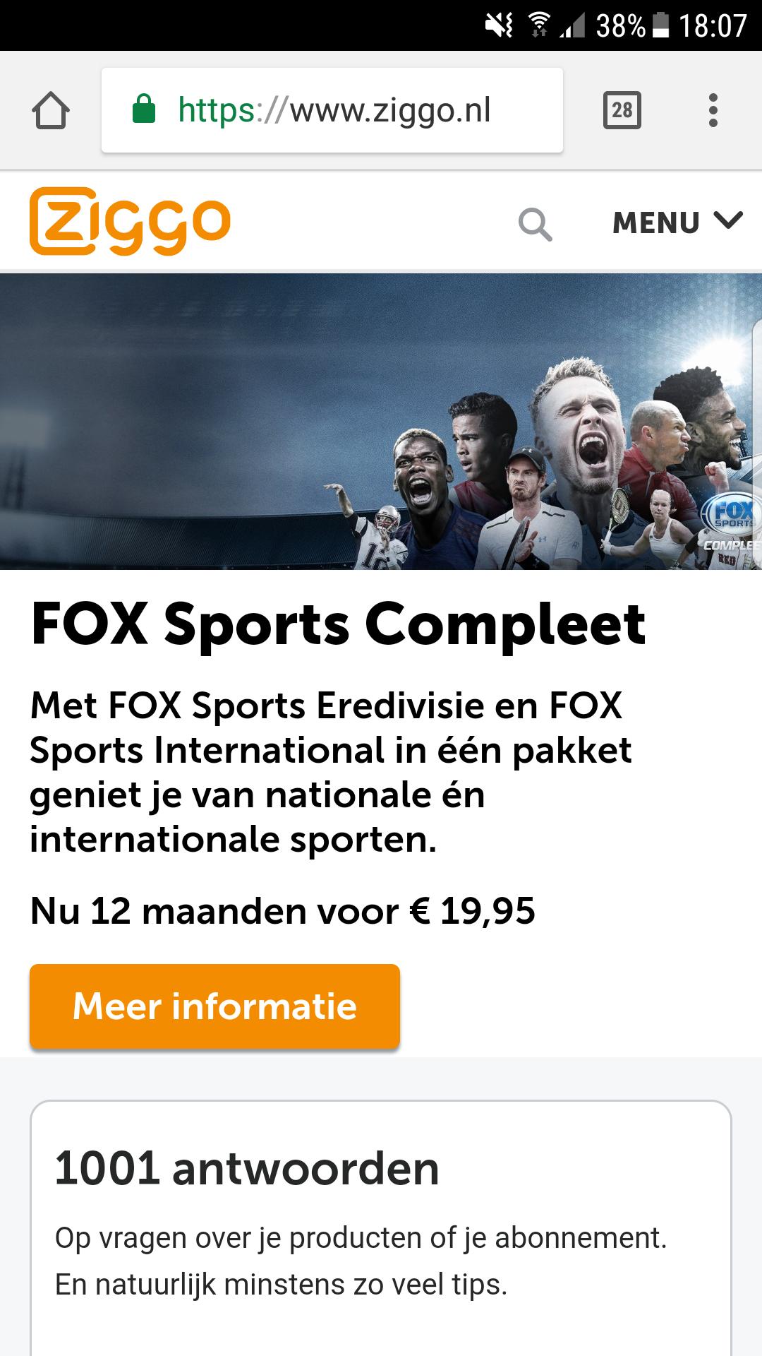 Fox sports compleet nu 12 maanden voor €19,95 per maand @ Ziggo