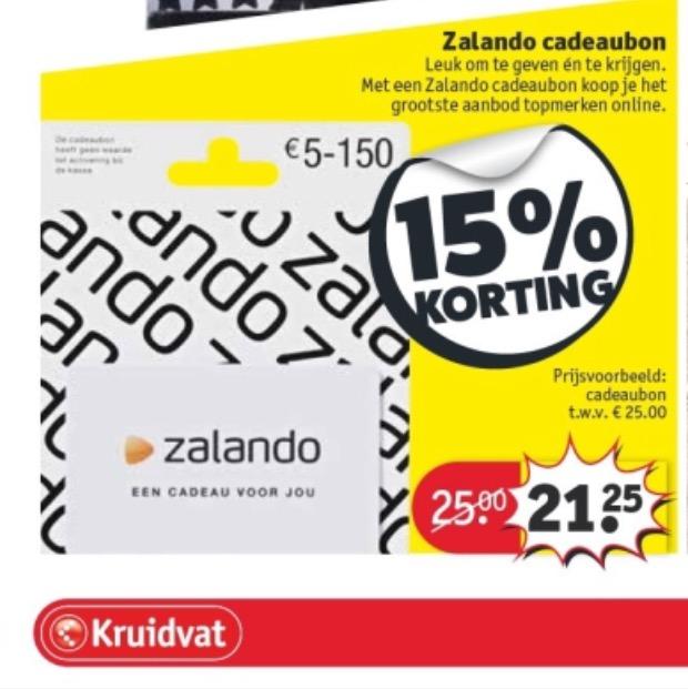 Vanaf dinsdag 15% korting op cadeaubon Zalando @ Kruidvat