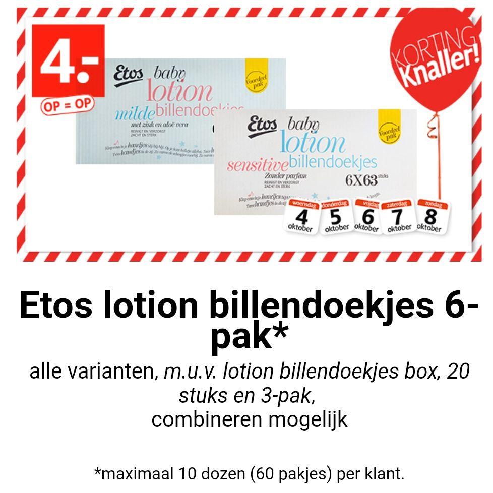 6 pakken billendoekjes voor €4 @ Etos