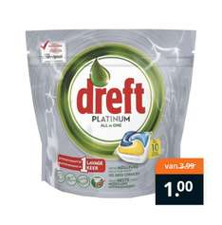 Dreft Platinum Lemon All-In-One Vaatwastabletten voor €1,- @ Trekpleister