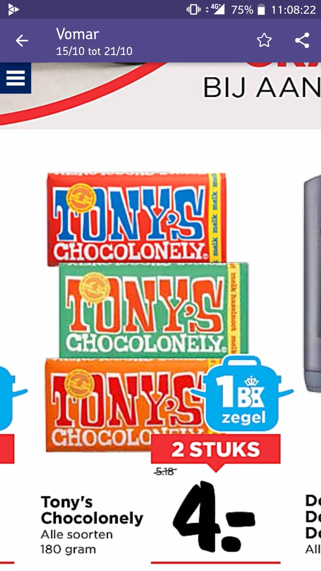 Tony's Chocolonelly 2 voor €4 @ Vomar Voordeelmarkt