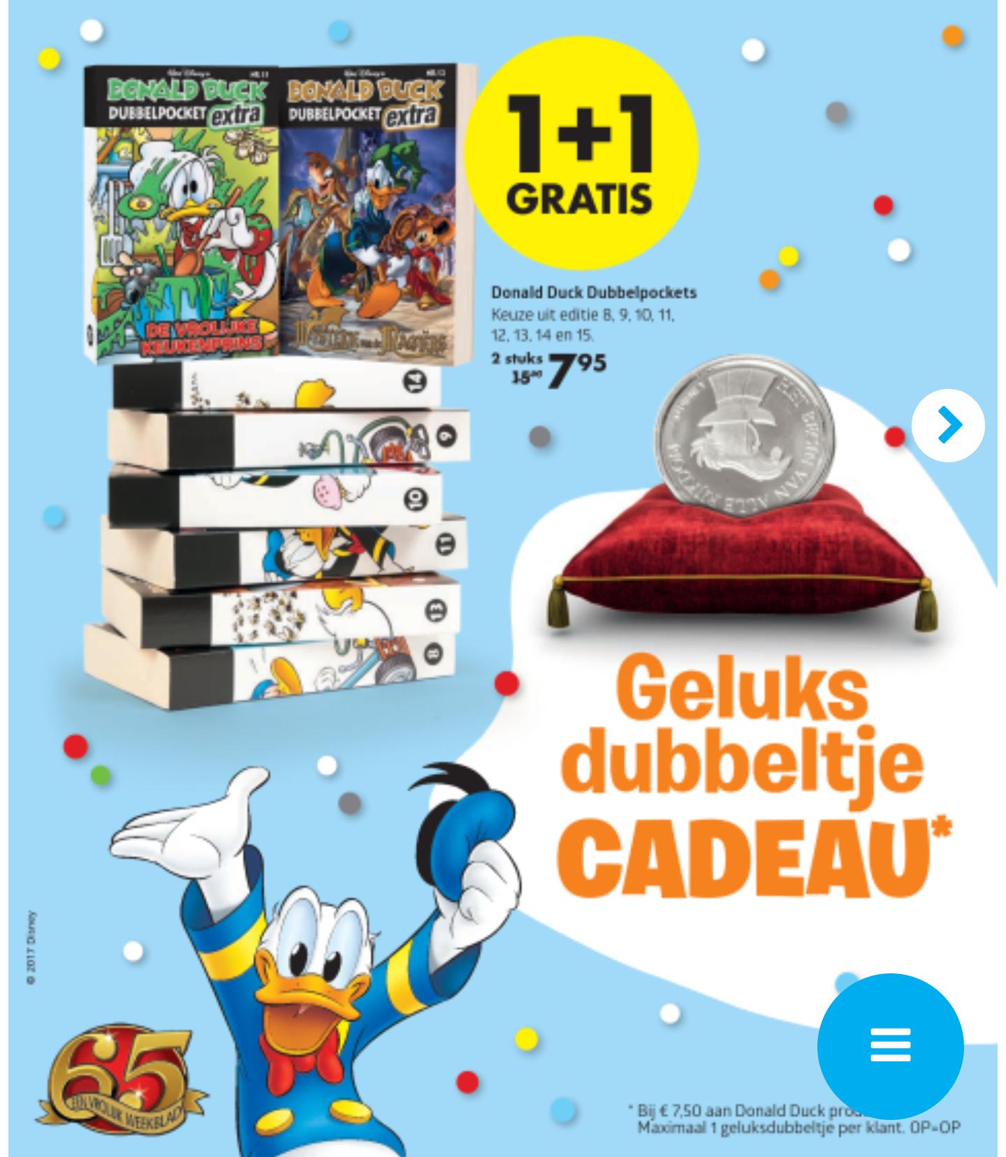 Donald Duck dubbelpockets 1+1 gratis + Geluksdubbeltje @ Bruna