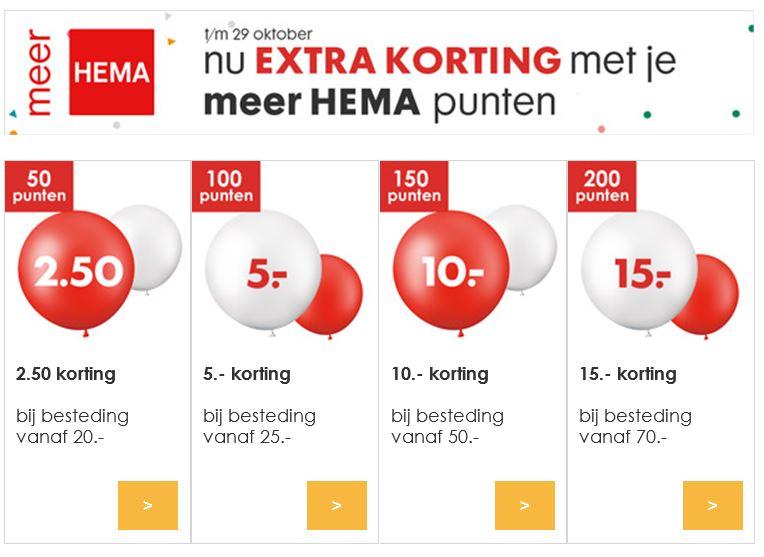 Met punten €2,50 - €15 (extra) korting @ HEMA