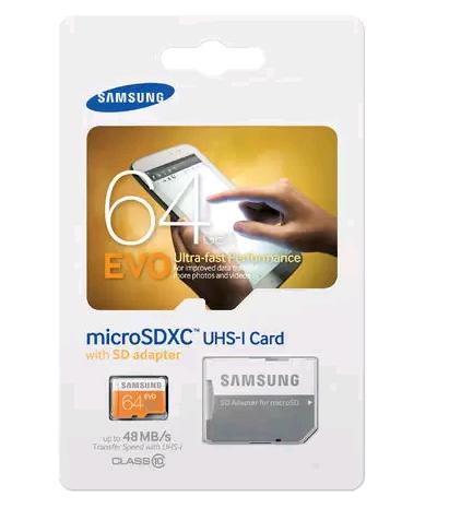 Samsung EVO MicroSD 64GB  Class 10 + SD Adapter @ Yorcom  (Normaal €44.95)