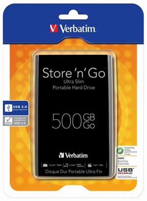 Verbatim Store 'n' Go Ultra Slim 500GB Zwart (USB 3.0) voor €34,90 @ Companic
