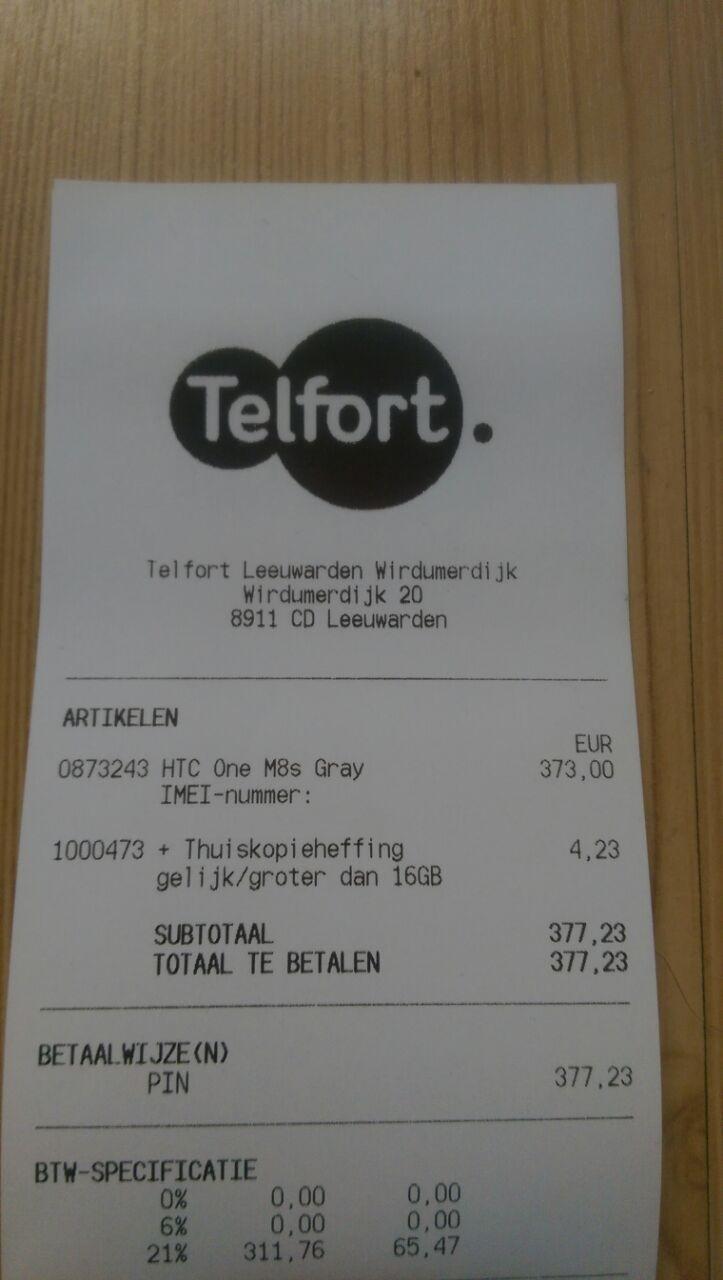 Nieuwe HTC One M8s voor €377,23 @ Telfort Winkel Leeuwarden