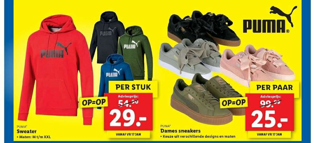 Lidl, Puma sweater €29 en puma dames sneakers €25 - Pepper.com