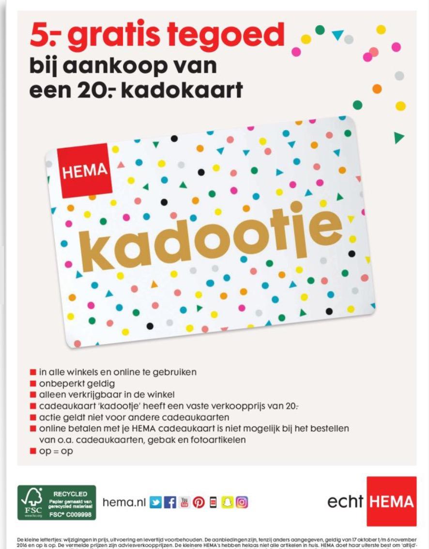 HEMA 5.- euro tegoed bij aankoop van een 20.- kadokaart - Pepper.com