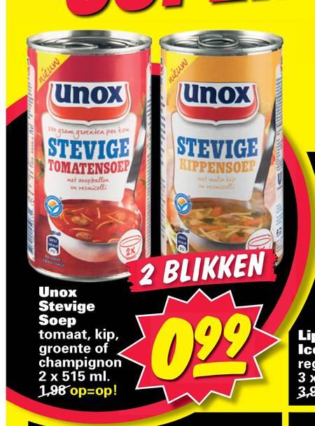 2 blikken unox stevige soep voor 0 99 nettorama - Geldt bold ...