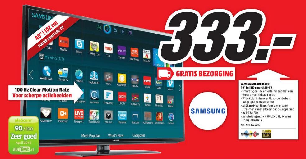samsung ue40eh5300 full hd smart tv voor 333 media markt. Black Bedroom Furniture Sets. Home Design Ideas