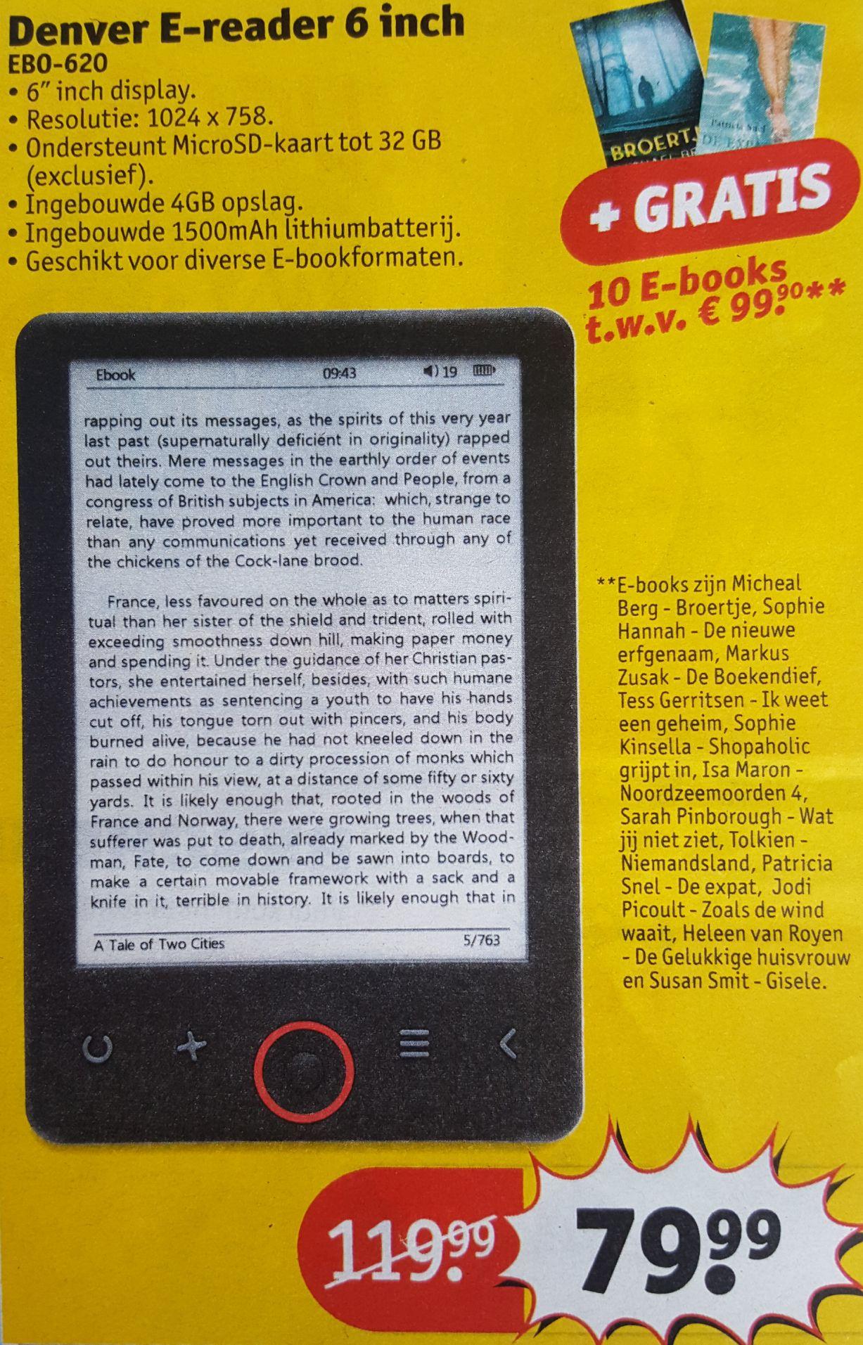 Denver 6 inch E-reader + 10 E-books voor 79,99€ - Pepper.com