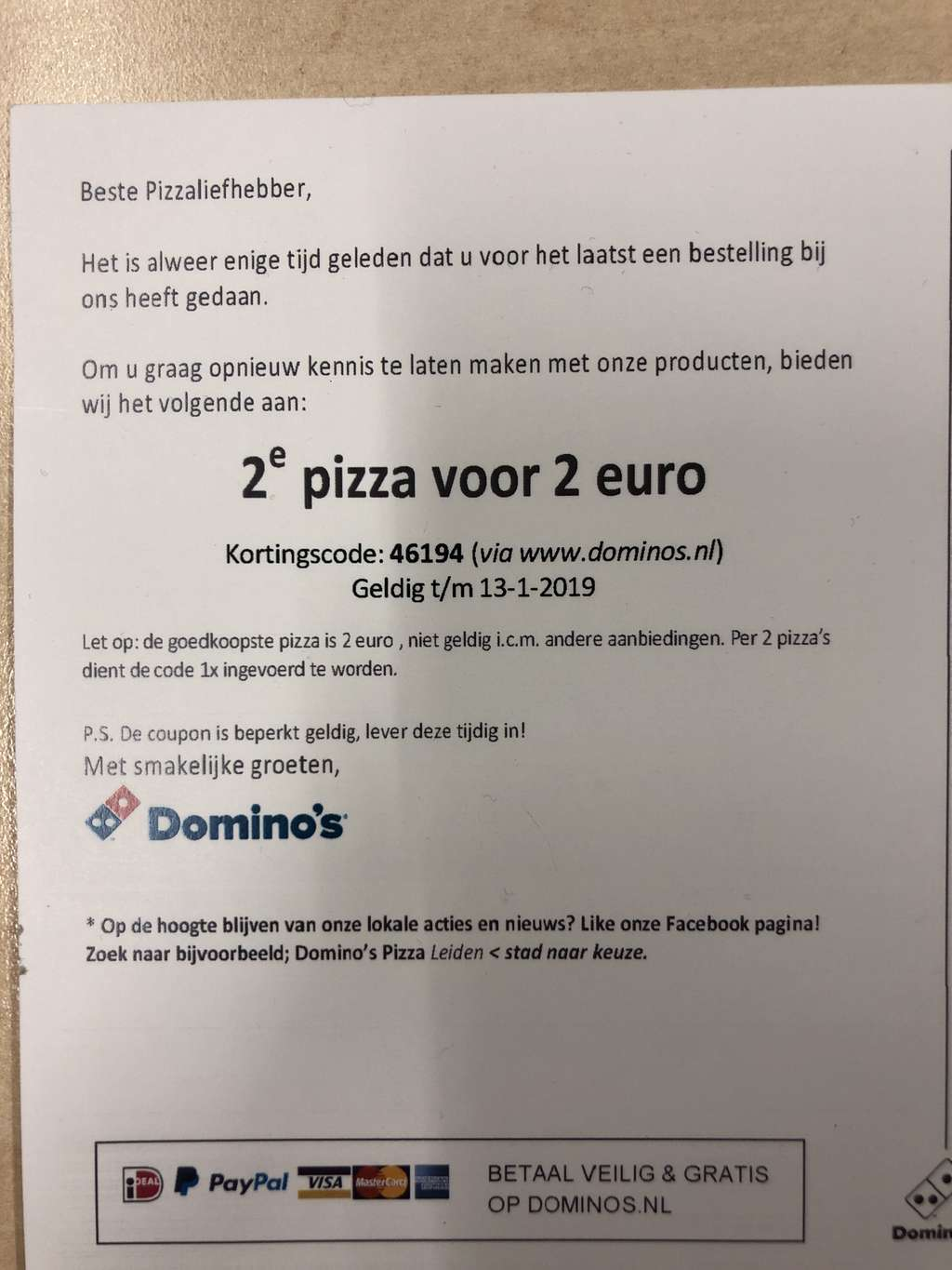 Dominos coupons tweede