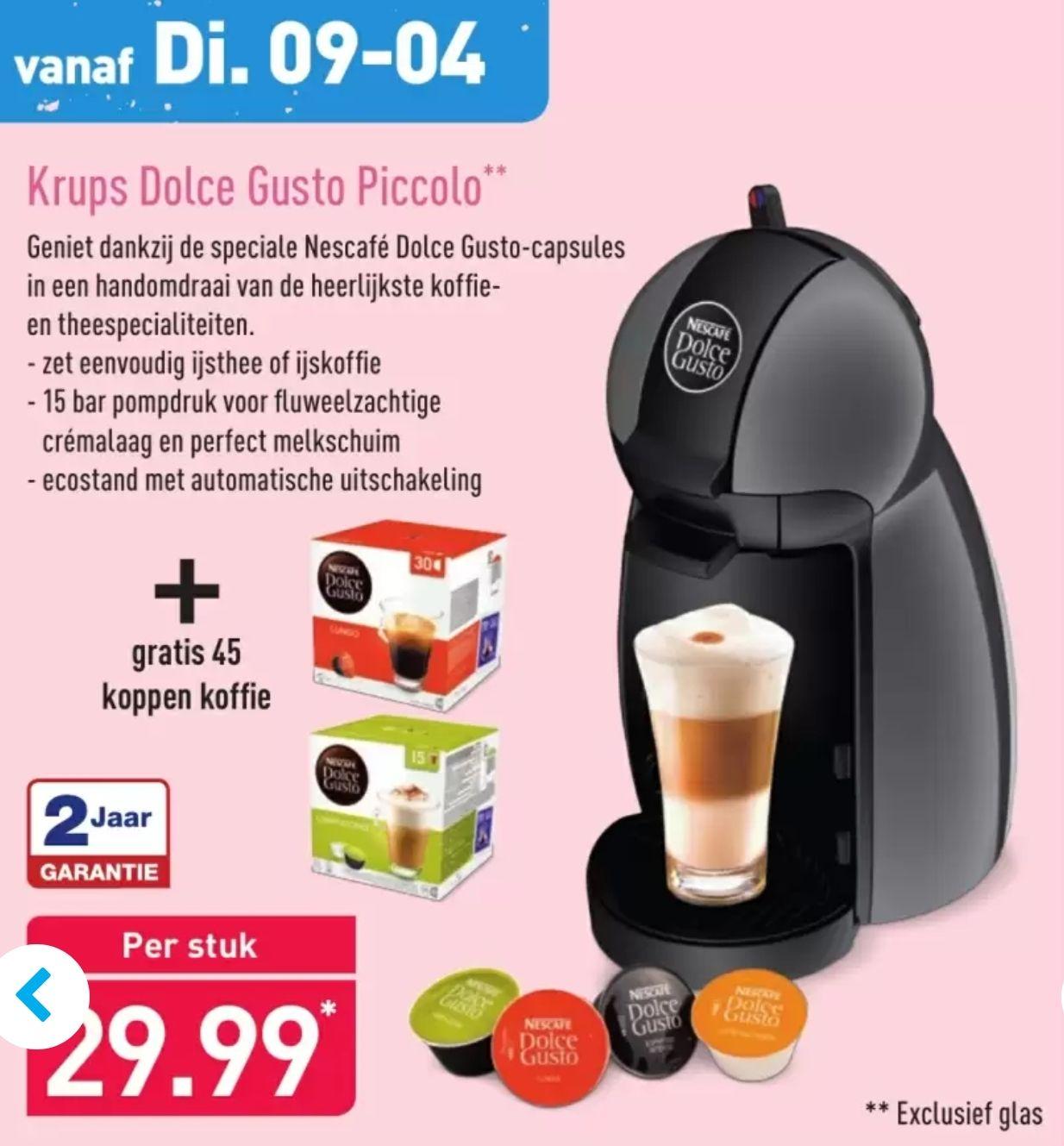 Krups Dolce Gusto Piccolo + gratis 45 cups @Aldi