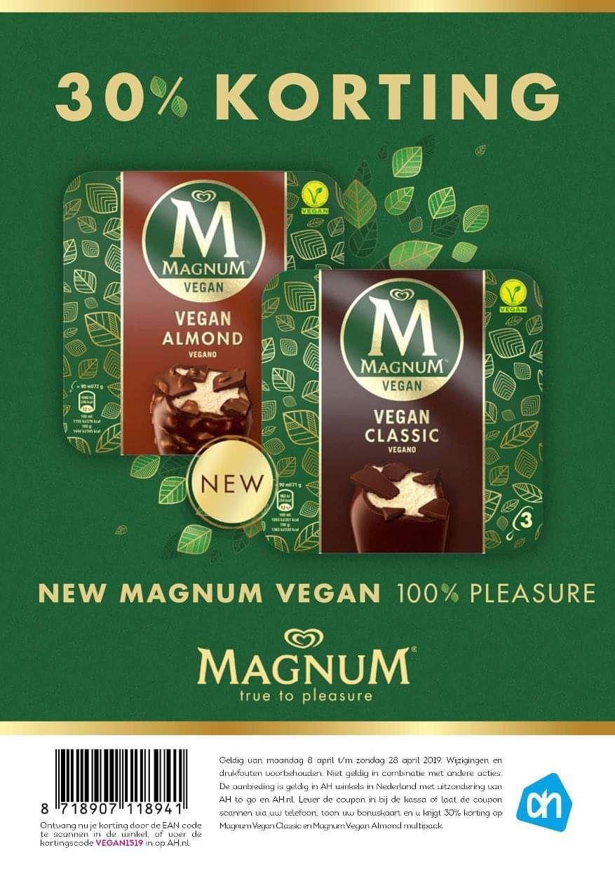 30% korting op vegan Magnum ijsjes bij de Albert Heijn