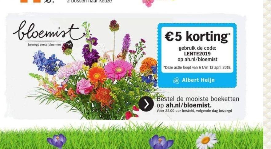 5 euro korting bij AH bloemen