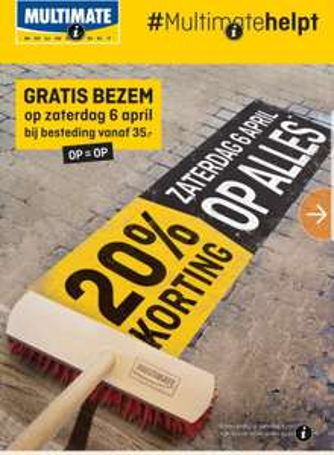 20% korting @ Multimate & Hubo vandaag (+gratis bezem bij 35euro besteding)