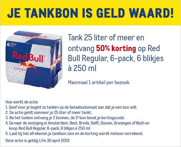 Ontvang met je Makro tankbon 50% korting op Red Bull Regular 6 pack