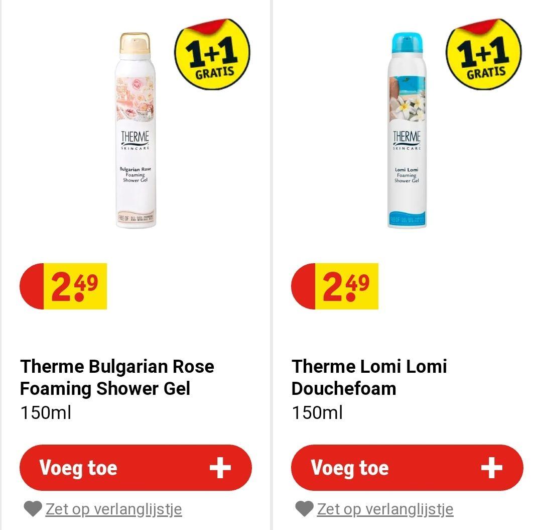 Therme foaming shower gel (150ml) 1+1 gratis bij Kruidvat én dubbele spaarpunten