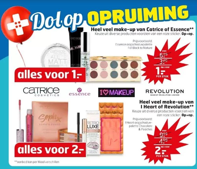 Opruiming Trekpleister en Kruidvat: make-up van Catrice en Essence €1, Revolution €2