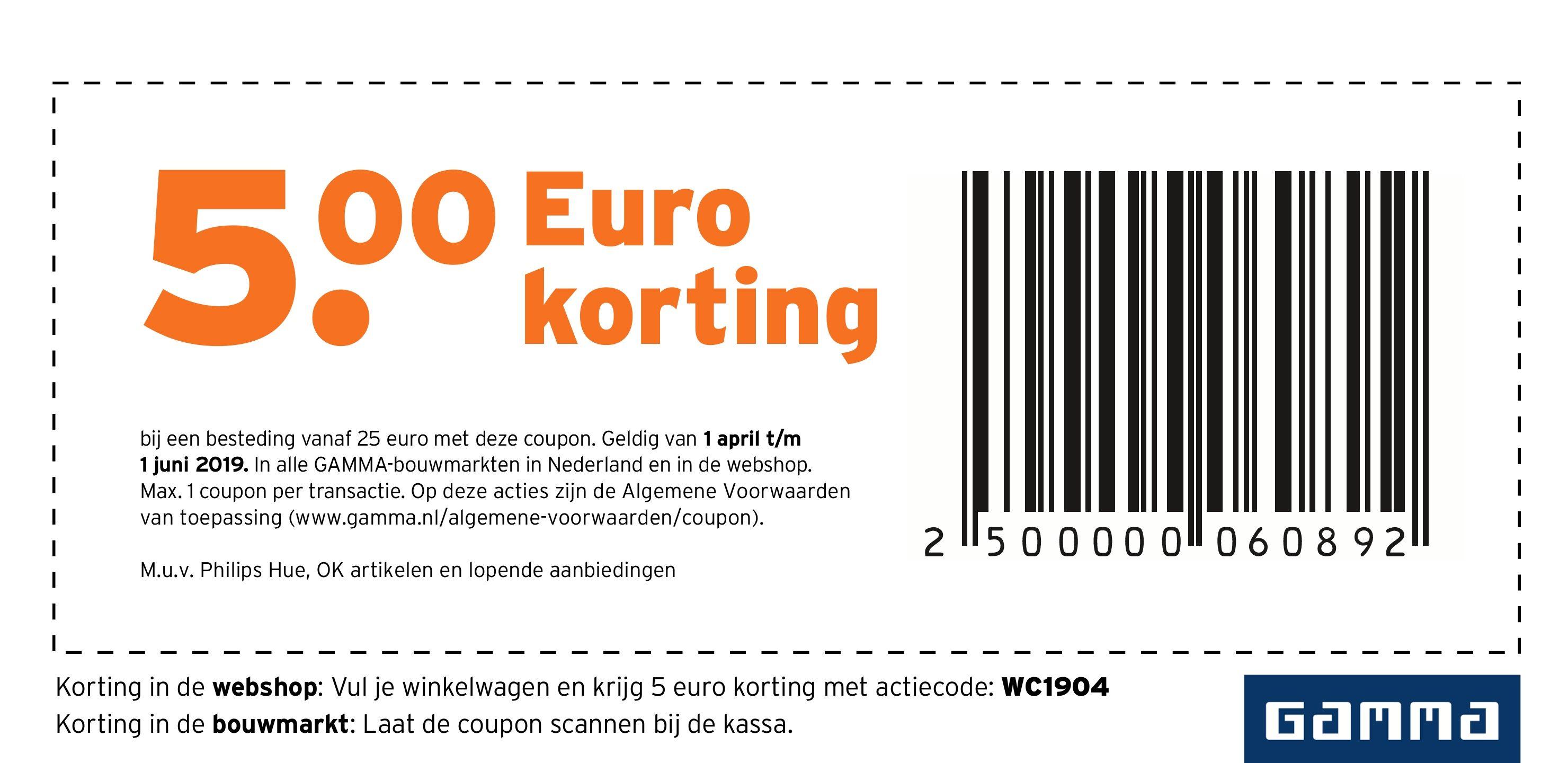 Gamma 5 euro korting