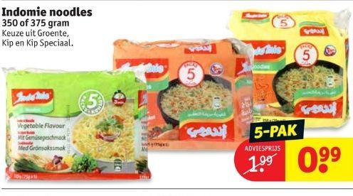 Indomie noodles 5-pak voor €0.99 @ Kruidvat