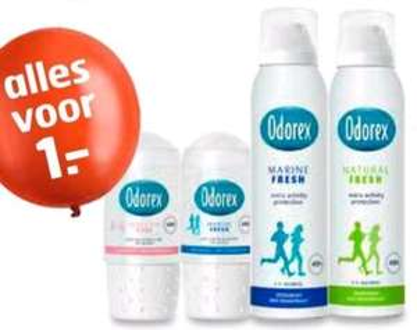 Odorex deodorant €1,00 per stuk. Tot 70% korting @Trekpleister