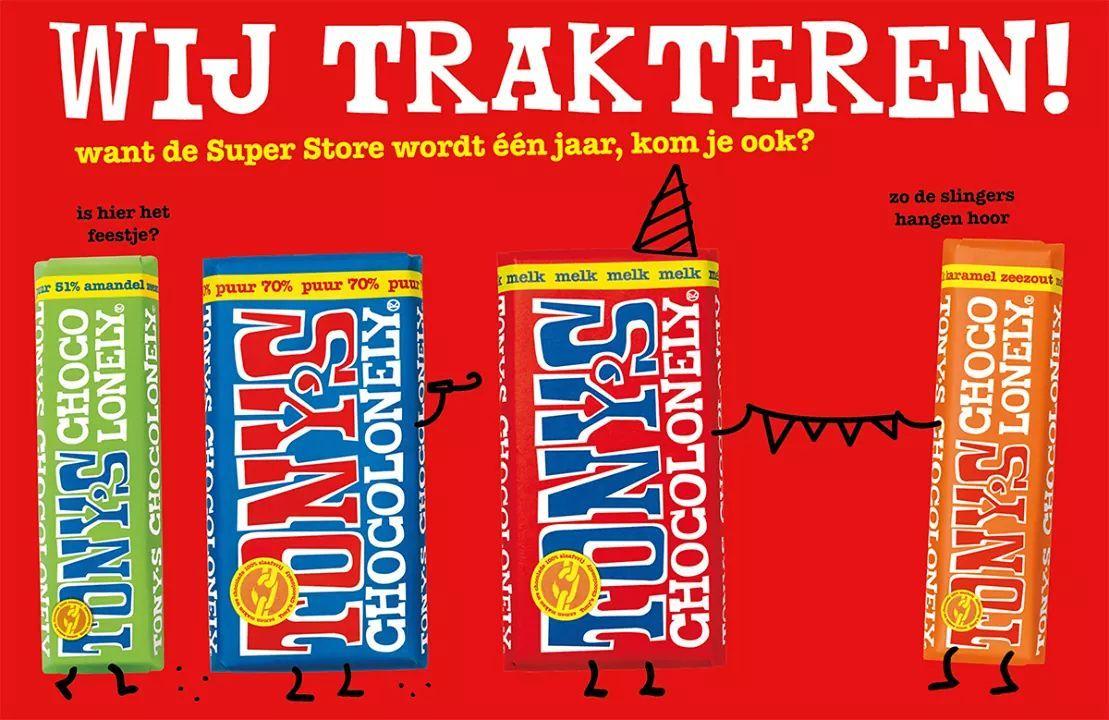 Gratis twee reepjes Tony's Chocolonely bij de Tony's Store Amsterdam