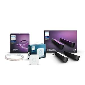 Philips Hue (Gaming) Starter-Set (2x Hue Play Lightbar, 1x Bridge, 1x  LightStrip+ 2m) @ Amazon.de