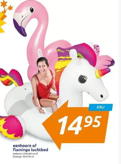 Action: XXL eenhoorn of flamingo luchtbed