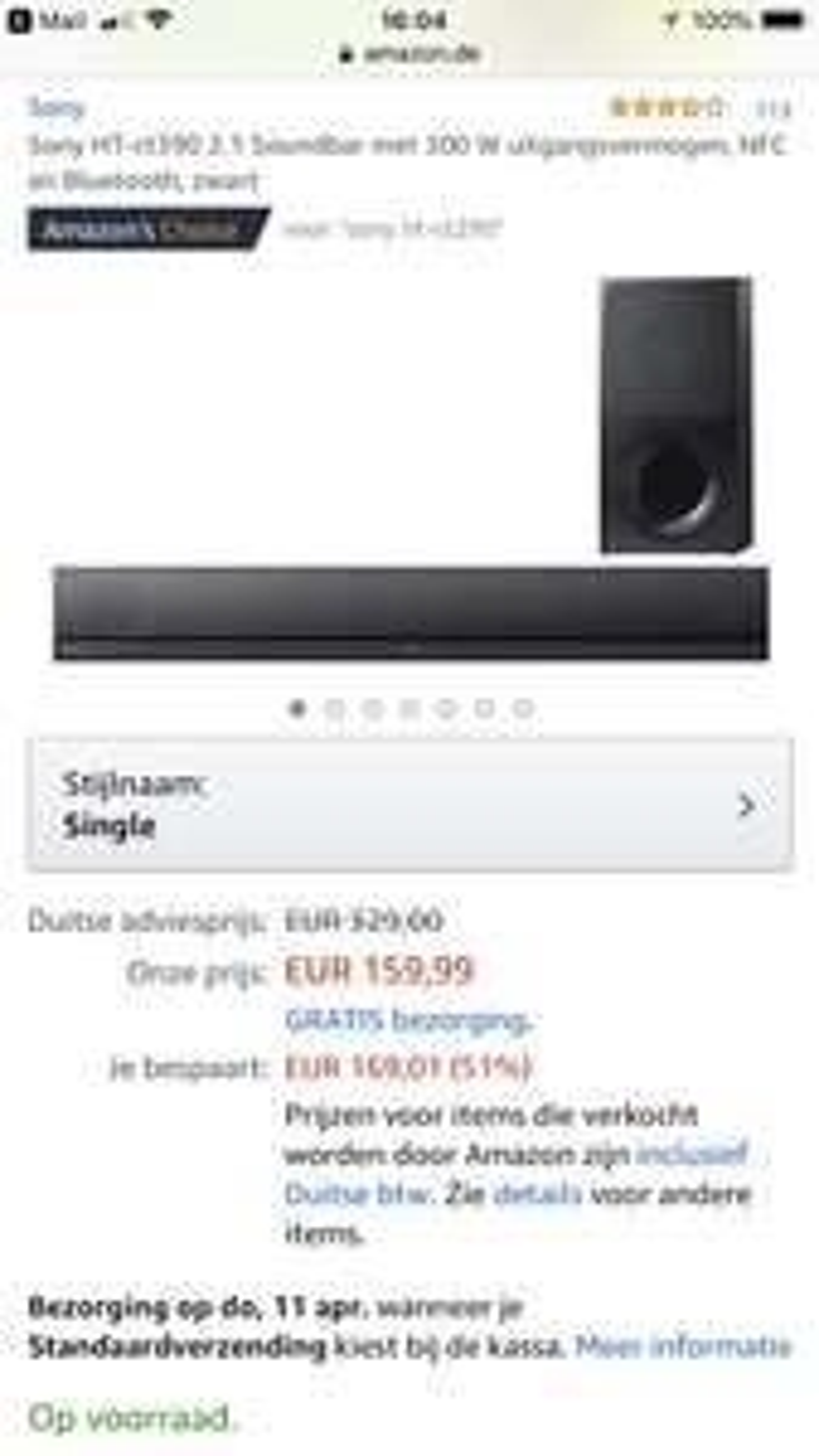 Amazon DE Soundbar Sony Gratis Verzending