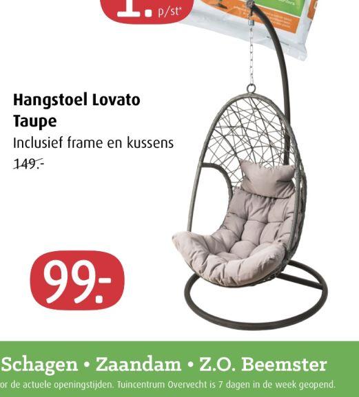 Hangstoel Lovato taupe bij tuincentrum Overvecht