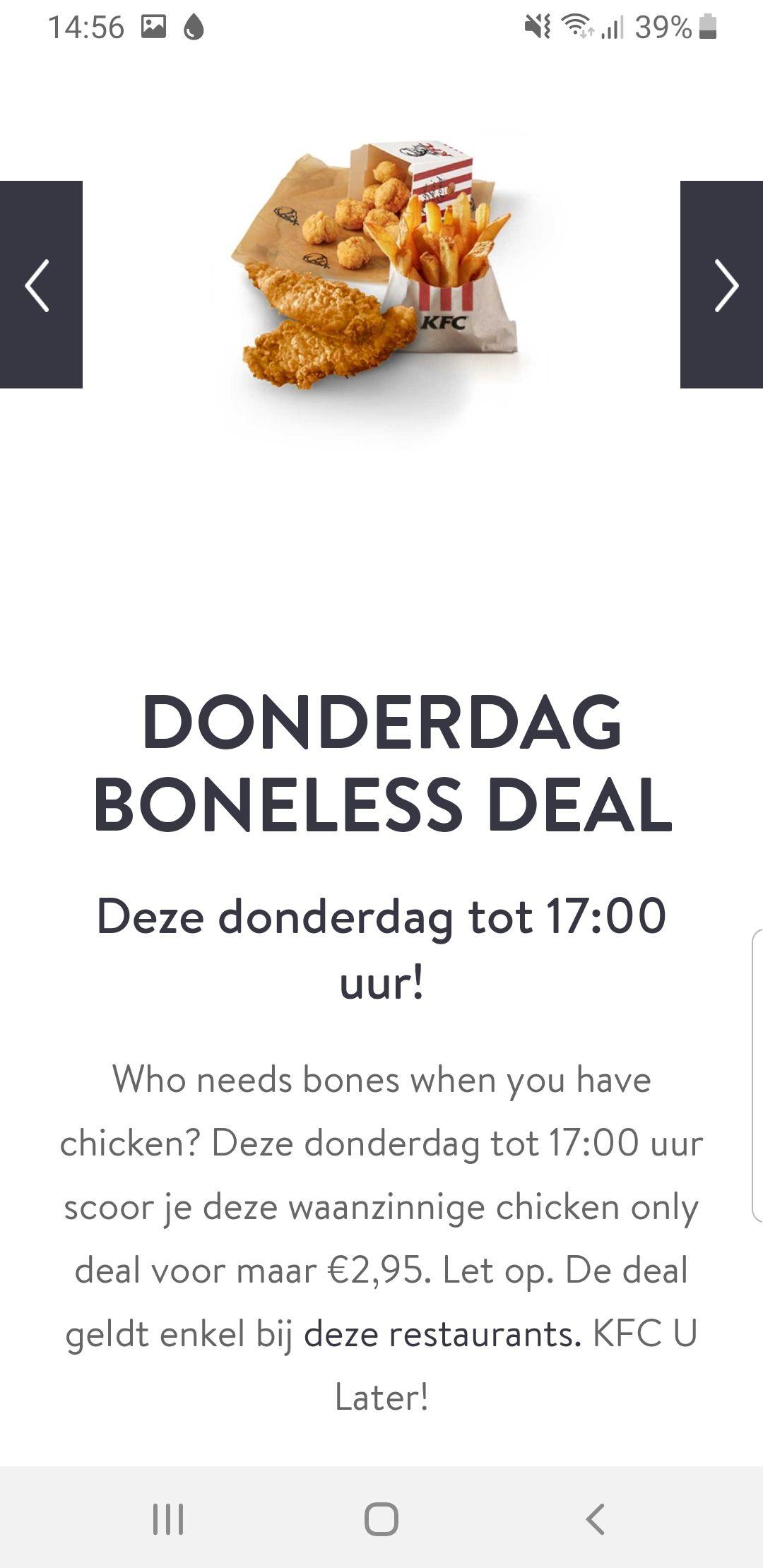 KFC Donderdag Boneless deal