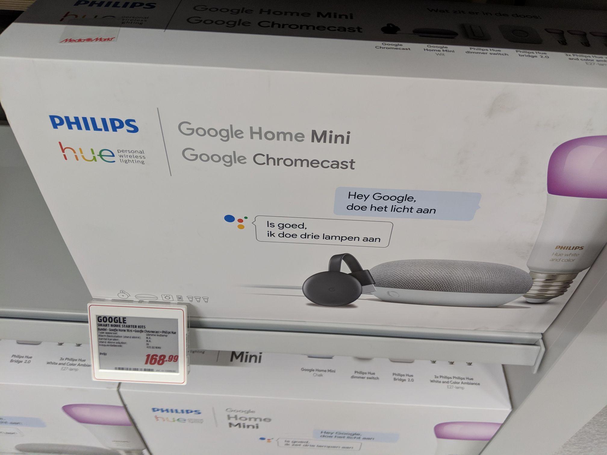 Hue starterskit + Google Home Mini + Chromecast 2018 voor 168,99