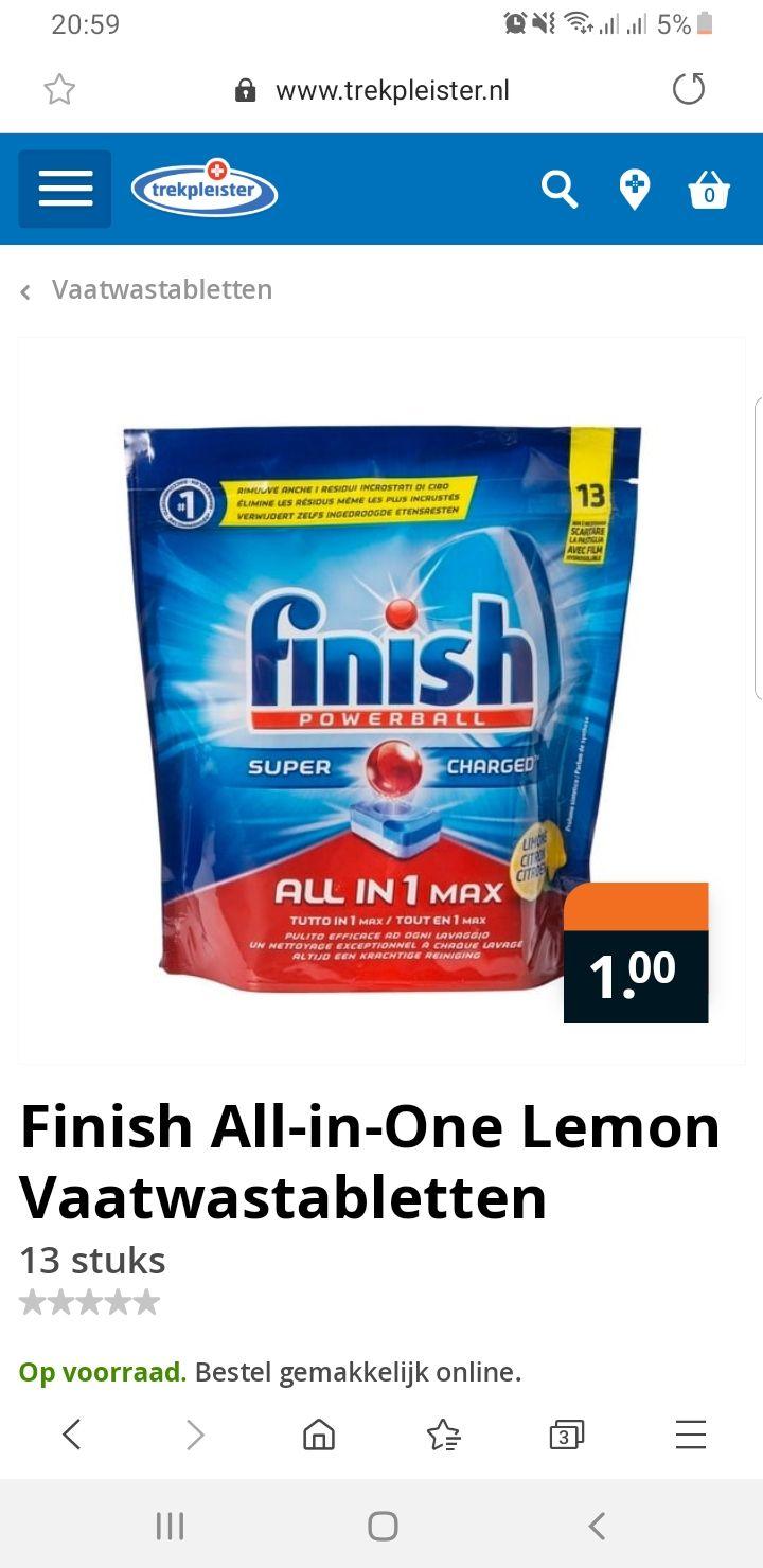 Finish All-in-One Lemon of Regular Vaatwastabletten 13 stuks
