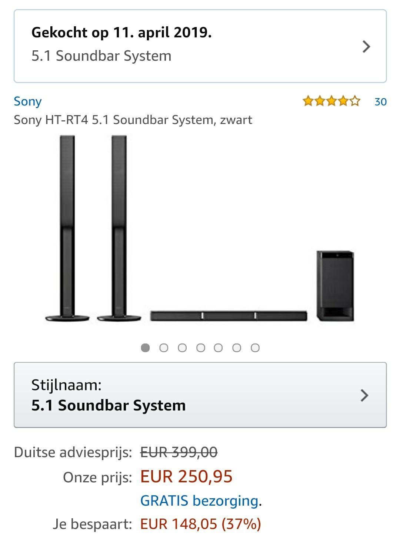 Sony HT-RT4 5.1 Soundbar System, zwart