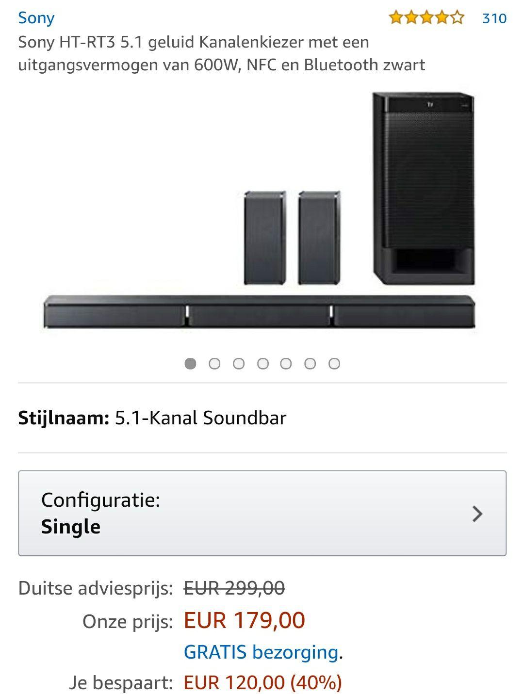 Sony HT-RT3 5.1 geluid Kanalenkiezer met een uitgangsvermogen van 600W, NFC en Bluetooth zwart