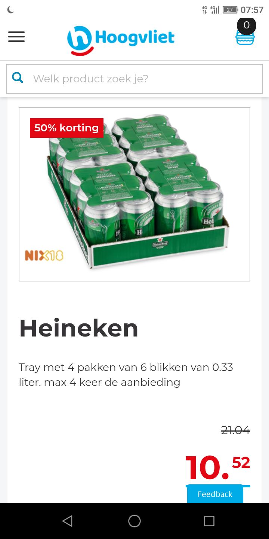 Heineken tray 24 blikjes