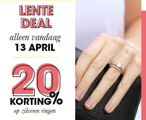 Alleen 13 April 20% korting op Zilvere ringen
