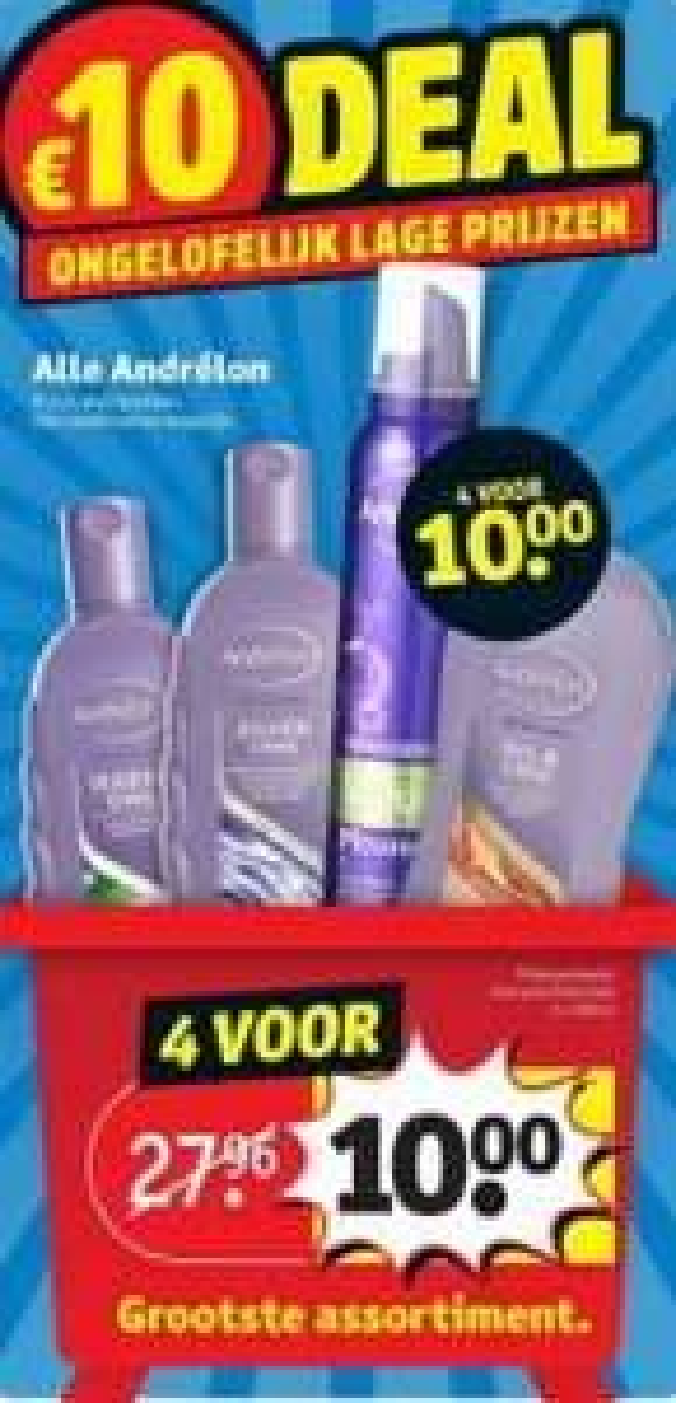 Alle Andrelon 4 voor €10 (tot 70% korting) @Kruidvat